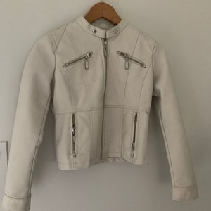 Girls Jou Jou Faux Leather White Jacket Sz L 14-16